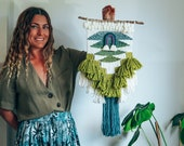 Rainbow Woven Wall Hanging | Fiber Art | Tapestry | Weaving | Green & Teal Ombré