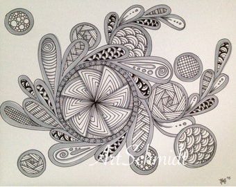 Original Zentangle Drawing with black and gray