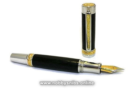 Traditional 'Non-Posted' Handmade Wooden Fountain Pen in African Blackwood with Rhodium & Gold Titanium fittings.
