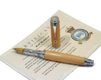 Fountain Pen Made in Timber Reclaimed from RAF Marham, Norfolk, England, Home Of F-15 Lightning Stealth Fighter Jets. Can be personalised.