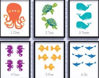 Sea Creatures Nursery Decor, Sea Life, Baby Shower, Nursery Art, Gender Neutral, Nursery Poster, Newborn Gift, Nursery Wall, Kids Room Decor