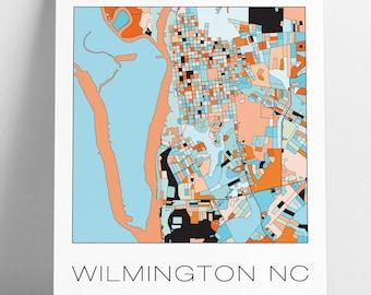 Wilmington map art | Etsy on