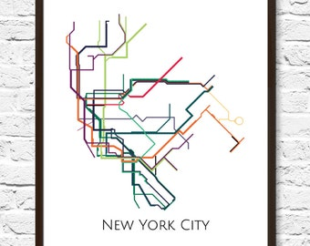 New York City, New York Metro Map, NYC Subway Map, Transit Map, NYC Map Art, New York Subway Map, Subway Poster Art, New York Subway