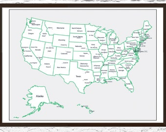 Push Pin Travel Map, Travel Board, Push Pin Map, USA Push Pin Map, Travel Map, US Travel Map, Push Pins Included!