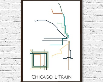 L Subway Map.Chicago Subway Map Etsy