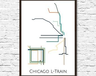 Chicago transit map | Etsy