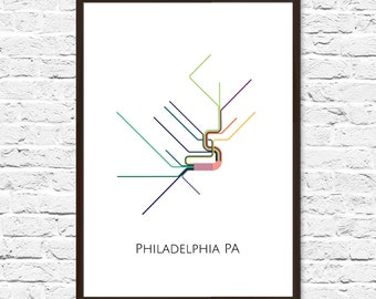 Philadelphia map etsy philadelphia metro map transit map philadelphia art philadelphia map art subway map subway poster art philadelphia subway freerunsca Gallery