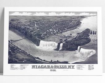 Niagara Falls New York Birds Eye View Poster Print 1882 Niagara River NY Historic Map Birds-Eye View Perspective Map Art Digitally Enhanced