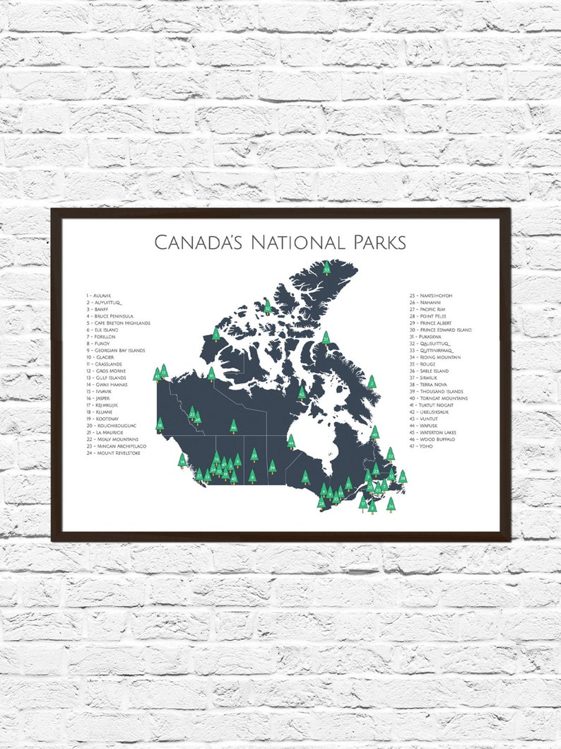 Canada National Park Poster Canada National Parks Map Map | Etsy