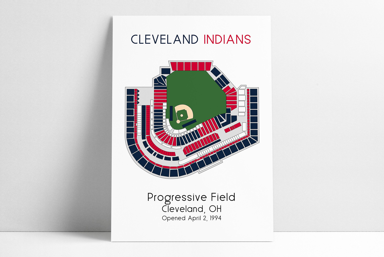 Cleveland Indians Baseball Poster Mlb Stadium Map Ballpark Map Baseball Stadium Map Gift For Him Stadium Seating Chart Man Cave
