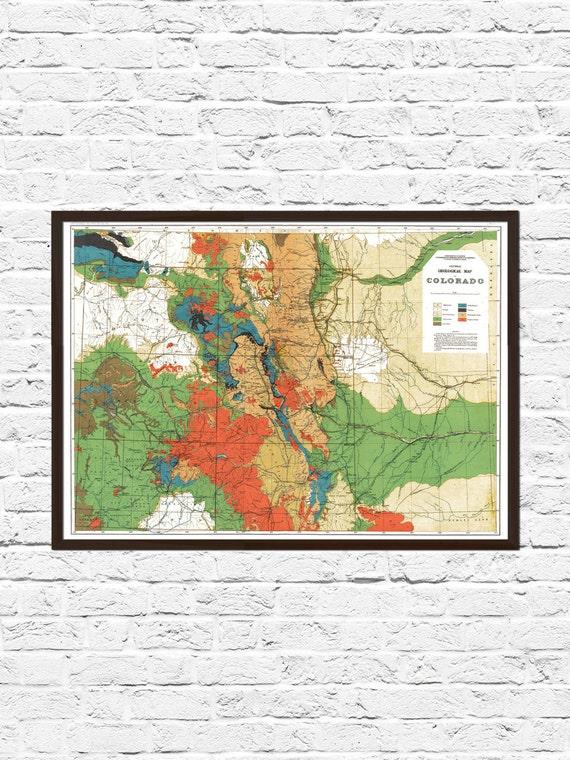 Colorado Map Art.Colorado Art Colorado Map Art Cartography Map Vintage Etsy