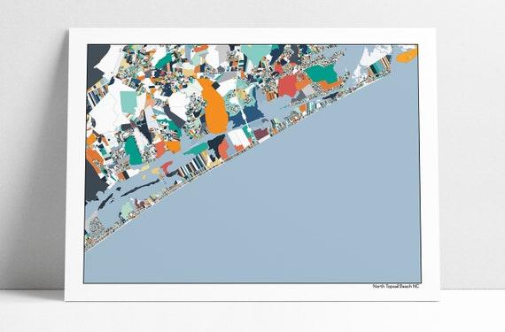 North Topsail Island NC Wall Art Map Print Poster Beach House Topsail on topsail island nc beach, map of topsail island nc, map of topsail island north carolina beaches, map of topsail nc area,
