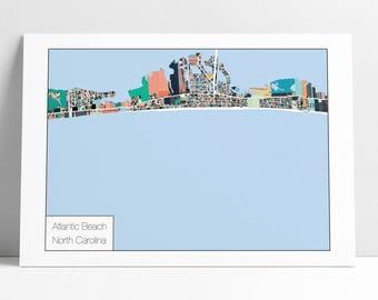 Atlantic Beach NC Map Art Print - Beach Decor, Beach House, Gift Idea, Home Decor, Wall Art, Abstract Art, Atlantic Beach Map Poster