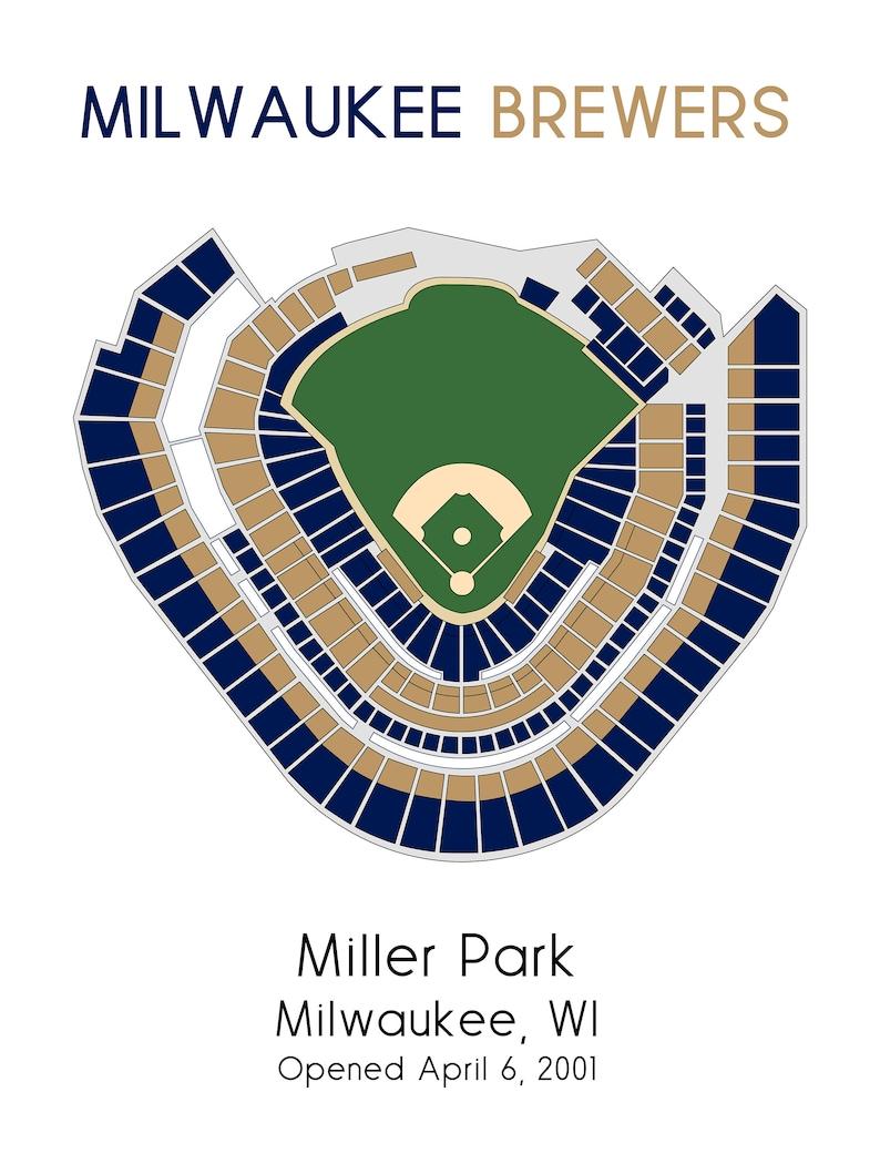 Milwaukee Brewers Miller Park Mlb Stadium Map Ballpark Map Baseball Stadium Map Gift For Him Stadium Seating Chart Man Cave