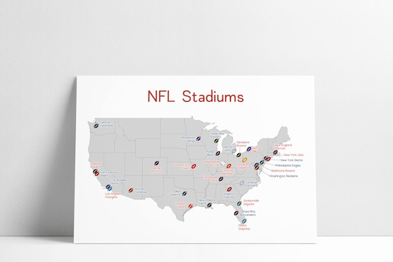 NFL Stadium Map Football Stadium Map Man Cave NFL Stadium  bddc534be21