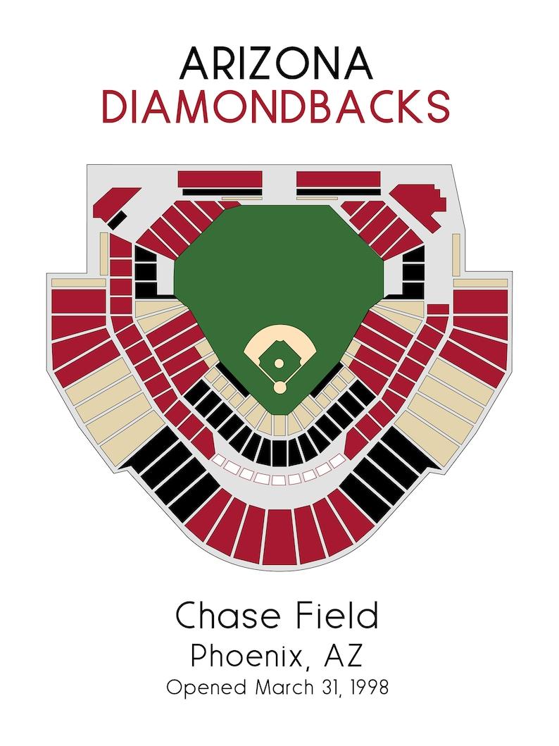 Map Of Arizona Diamondbacks Stadium.Arizona Diamondbacks Baseball Map Mlb Stadium Map Dbacks Etsy