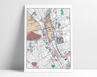 Osh Kyrgyzstan Map Art Print Fergana Valley Osh Kyrgyzstan City Streets Map Abstract Artwork Poster Home Town Places I Have Lived Gift