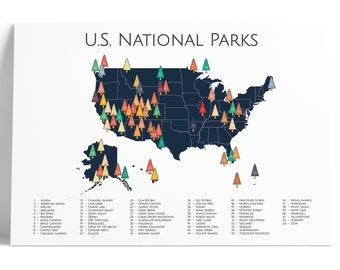 National Park Poster, National Park Map, 63 US National Parks Map Art, Adventure Art, Nursery Art, Travel Art, Travel Map, Nursery Decor,