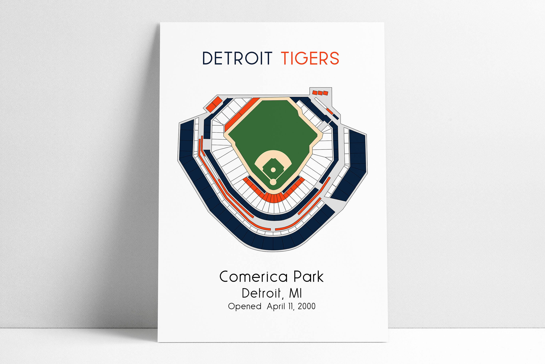 Detroit Tigers MLB Stadium Map Comerica Park Ballpark Map | Etsy