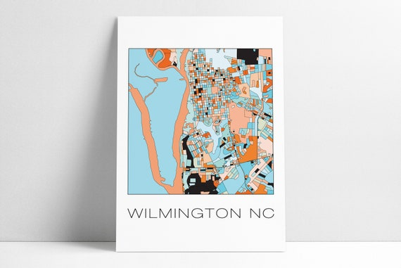 Wilmington Nc City Overview Wilmington Nc Map Print Etsy