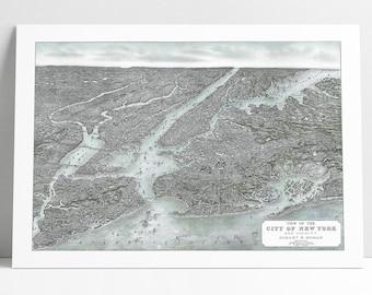New York City NY 1884 Birds Eye View Historic Map Digitally Enhanced Poster Print 1907 NYC Birds-Eye View Perspective Map - 2 Versions