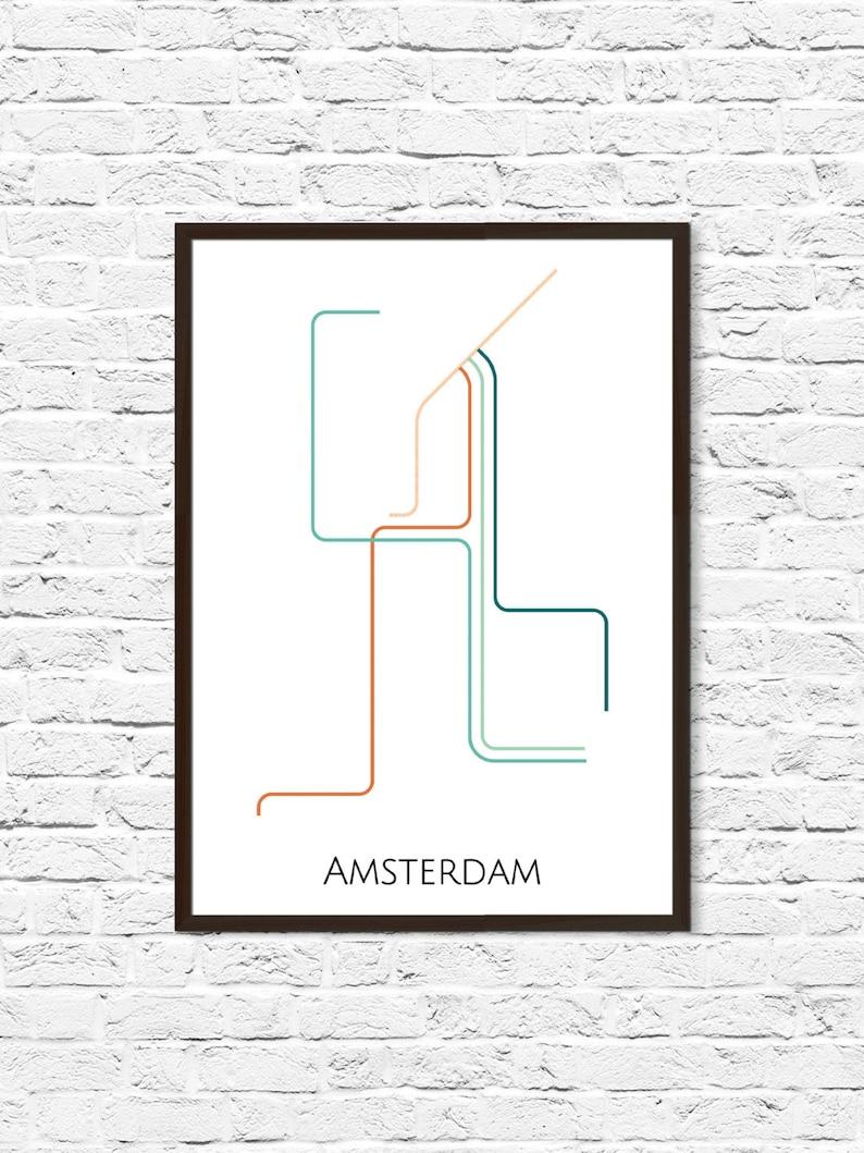 Subway Map Amsterdam.Amsterdam Metro Map Amsterdam Art Transit Map Subway Map Subway Poster Art