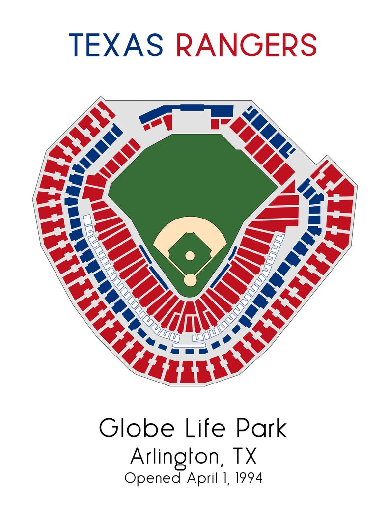 Map Of Texas Rangers Stadium.Texas Rangers Mlb Stadium Map Ballpark Map Baseball Stadium Etsy
