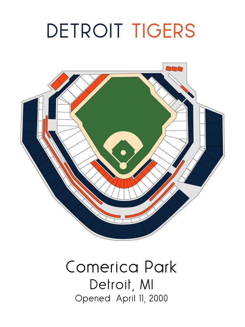 Detroit Tigers MLB Stadium Map Comerica Park Ballpark Map | Etsy
