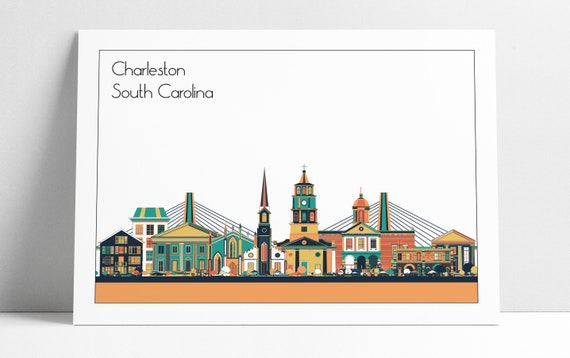 Home Decor Charleston Sc.Charleston Sc Skyline Wall Art Print Home Decor Office Decor Housewarming Gift Poster Charleston City Skyline 3 Different Colors