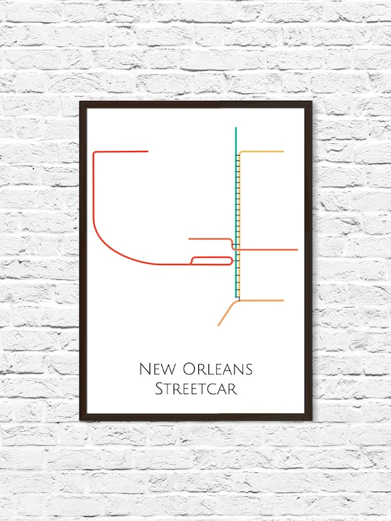 Streetcar In New Orleans Map.New Orleans Map New Orleans Streetcar Map Nola New Orleans Etsy