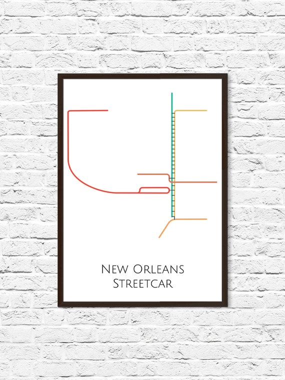 Streetcars In New Orleans Map.New Orleans Map New Orleans Streetcar Map Nola New Orleans Etsy