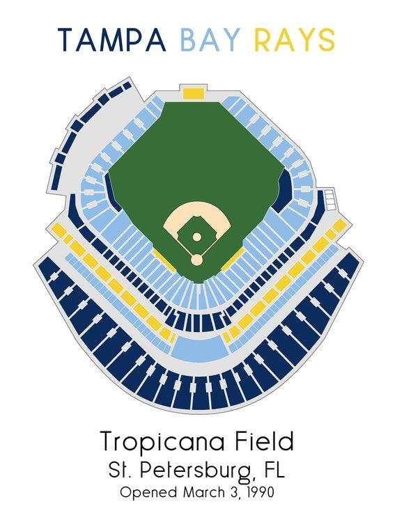 tampa bay rays tropicana field mlb stadium map ballpark map etsy etsy