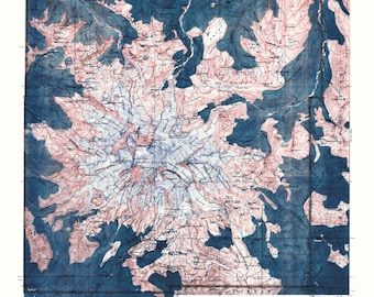 Mt Rainier, Topo, Mt Rainier Poster, Topography, Mt Rainier Print, Vintage Map, Washington, Map Art, Topographic Map, Mt Rainy
