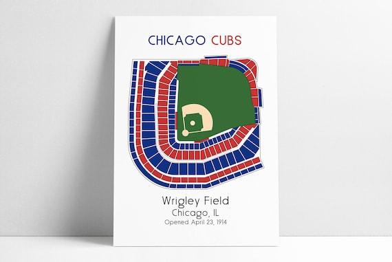 Chicago Cubs Mlb Stadium Map Decor Man Cave Wrigley Field Etsy