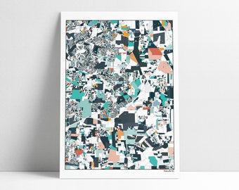 Rolesville NC Map Art Print Wall Art Housewarming Gift Abstract Art Rolesville North Carolina Artwork Home Town Map Print