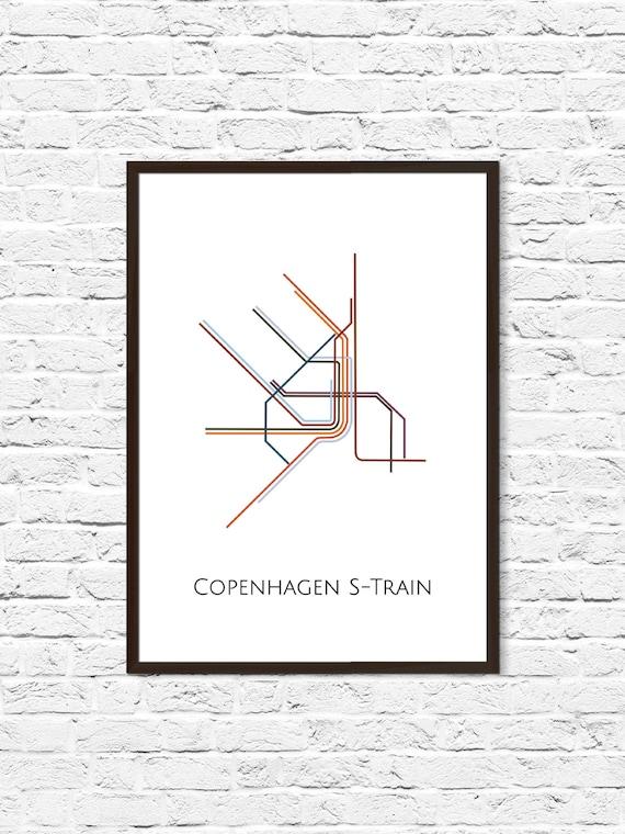 Copenhagen Metro Map Subway Map Map Art Copenhagen Metro Etsy