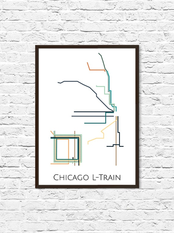 Chicago L-Train Metro Map, Transit Map, Subway Map, Subway Poster Art, on downtown chicago map, chicago metra train stops, chicago airport map, chicago l map, chicago south map, chicago suburbs map, city center chicago il map, chicago walmart map, chicago global map, chicago metropolitan area map, chicago neighborhood map, chicago loop map, greater chicago map, chicago on us map, chicago jazz festival map, chicago colorado map, chicago metra map, chicago street map, chicago restaurants map, chicago city bus map,