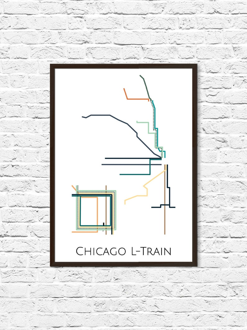 L Subway Map.Chicago L Train Metro Map Transit Map Subway Map Subway Etsy