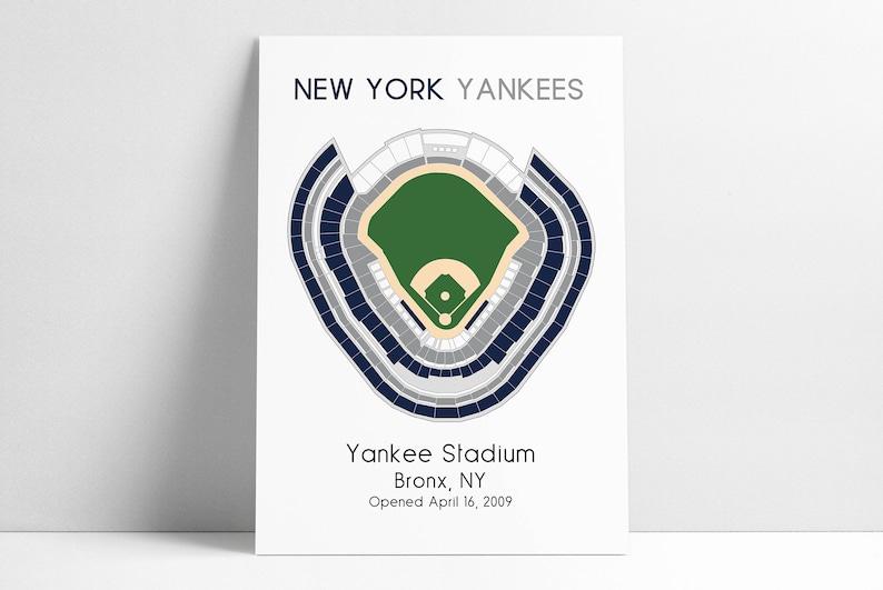 New York Yankees Yankee Stadium Mlb Stadium Map Ballpark Map Baseball Stadium Map Gift For Him Stadium Seating Chart Man Cave