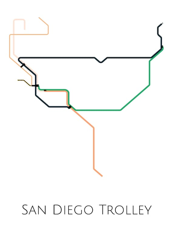 San go Trolley Map, San go Trolley, San go Map Art, San go Poster Sd Trolley Map on sd coaster map, sd trolley orange line, sd trolley stops near airport, san juan bus route map,