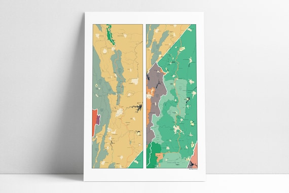 Blue Ridge Parkway Map Poster Trails Appalachian Etsy