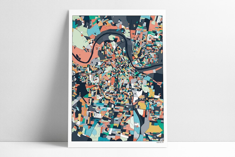 Nashville Map Nashville TN Nashville Print Nashville City | Etsy on