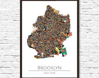 Brooklyn Map Art - Brooklyn Art New York, NYC, NYC Map, Brooklyn Map Art, New York Map, Brooklyn Poster