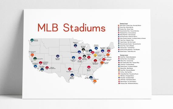 Baseball Stadiums Map Stadium Map Stadium Checklist Baseball Stadiums Map MLB | Etsy Baseball Stadiums Map