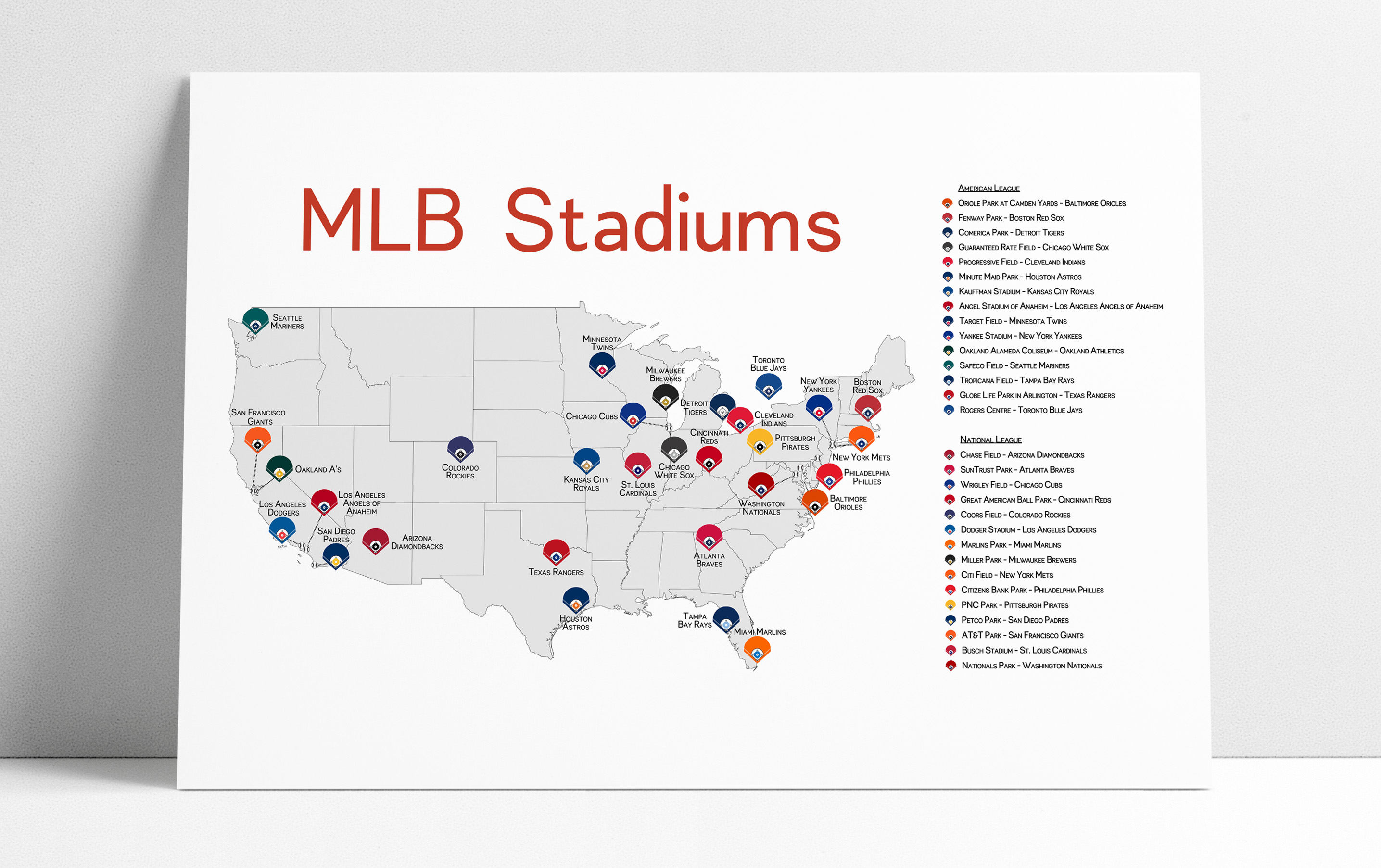 Stadium Map Stadium Checklist Baseball Stadiums Map MLB | Etsy