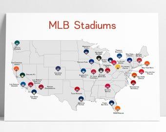 Baseball Map, Baseball Stadiums Map, MLB Stadium Print, Baseball Poster, Gift for Him, Man Cave, Baseball Print, Stadium Map, Baseball Map