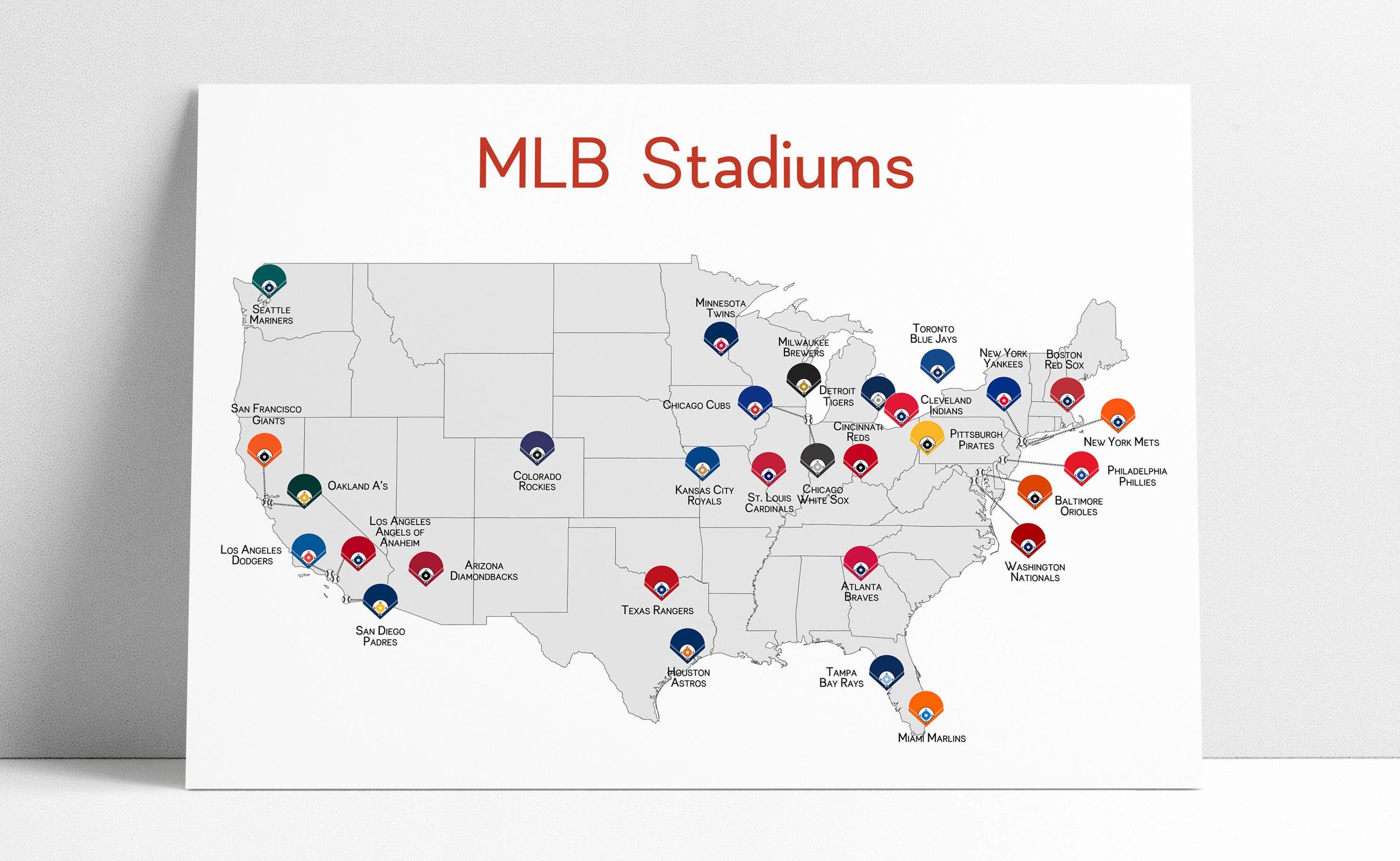 Baseball Stadium Map Baseball Map Baseball Stadiums Map MLB Stadium Print   Etsy