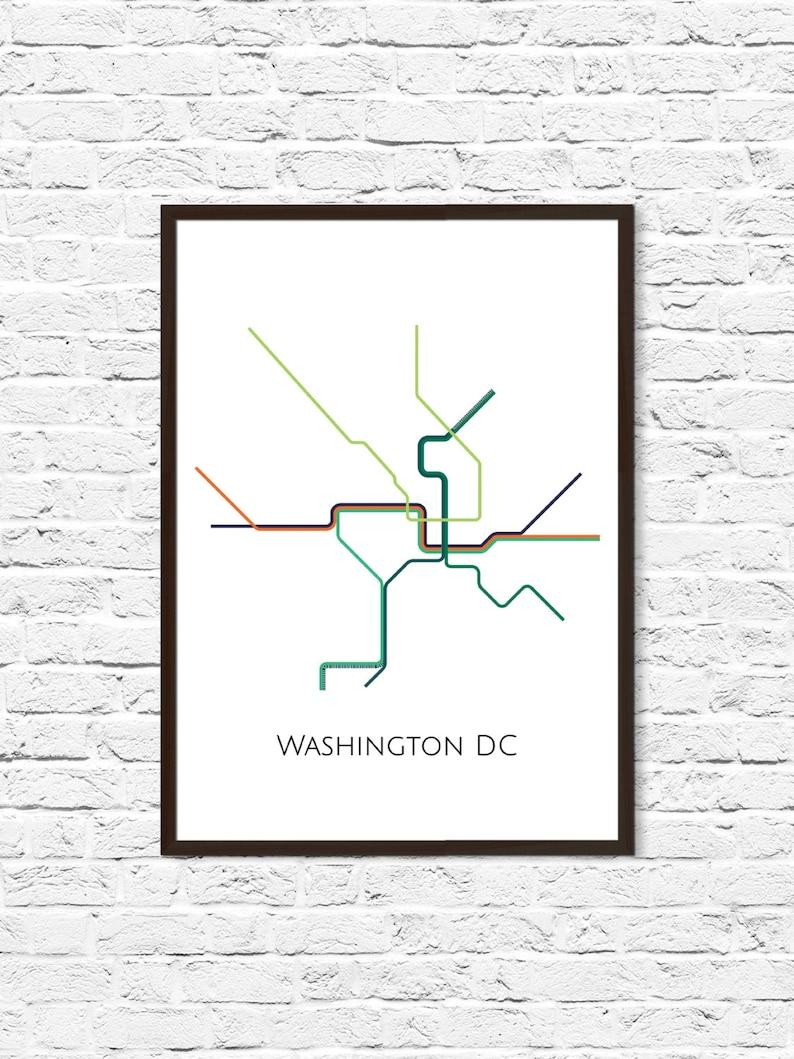 Washington DC Metro Map Transit Map Subway Map Subway | Etsy