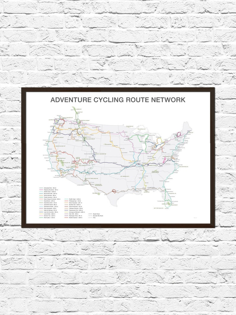 Bike Art Cycling Gift Bicycle Art Bicycle Wall Art Cycling Etsy - Us-bicycle-route-50-map