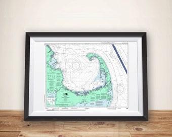 Cape Cod Nautical Chart Map Art Poster Print, Cape Cod Wall Decor, Cape Cod Map Art Print, Cape Cod Gift, Cape Cod Art, Nautical Chart Print